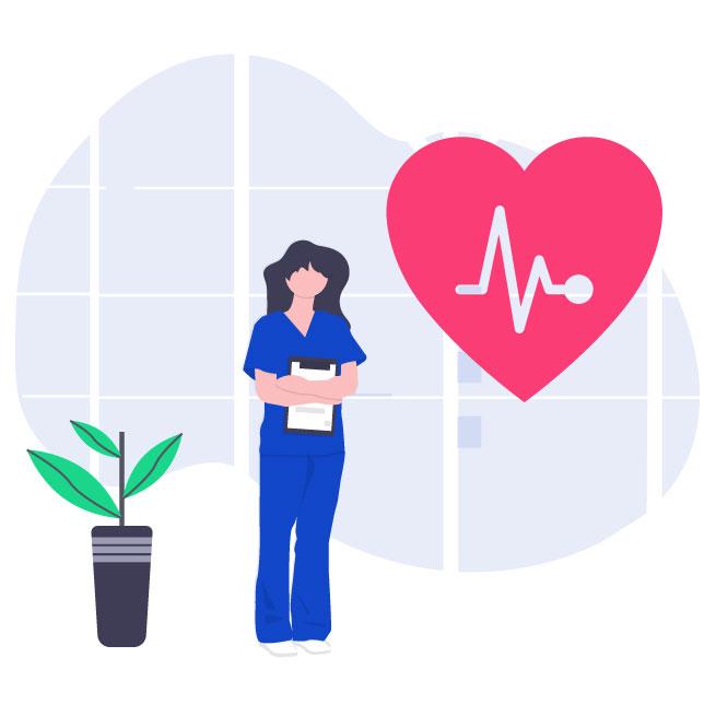 Illustrazione infermiera per domanda Bonus Elettrico Disagio Fisico 2021