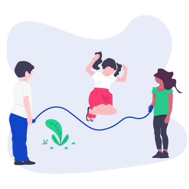 Illustrazione tre bambini saltano la corda per domanda bonus terzo figlio online