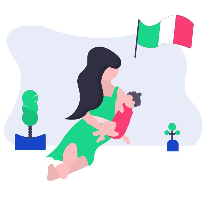 Illustrazione mamma con bambino per domanda assegno di maternità dello Stato 2021
