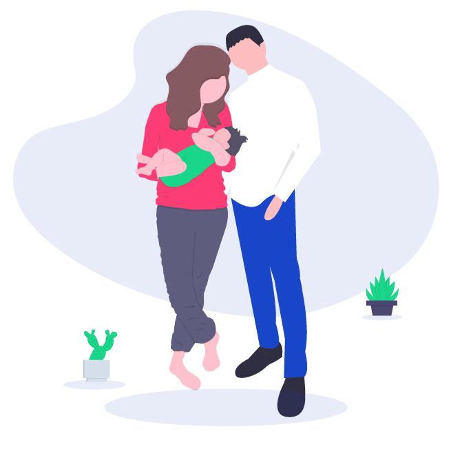 Illustrazione genitori con bebè per domanda congedo maternità obbligatoria online