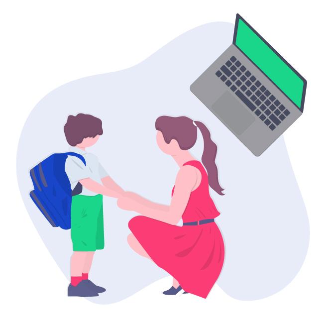 Illustrazione mamma con figlio in dad per domanda online bonus baby sitter