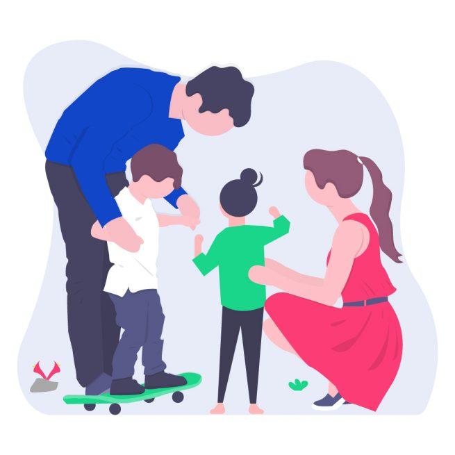 Illustrazione genitori disoccupati giocano con figli per domanda assegno unico ponte
